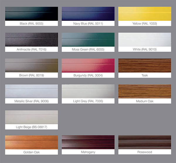 A great choice of colours available for Roller Doors and Shutters