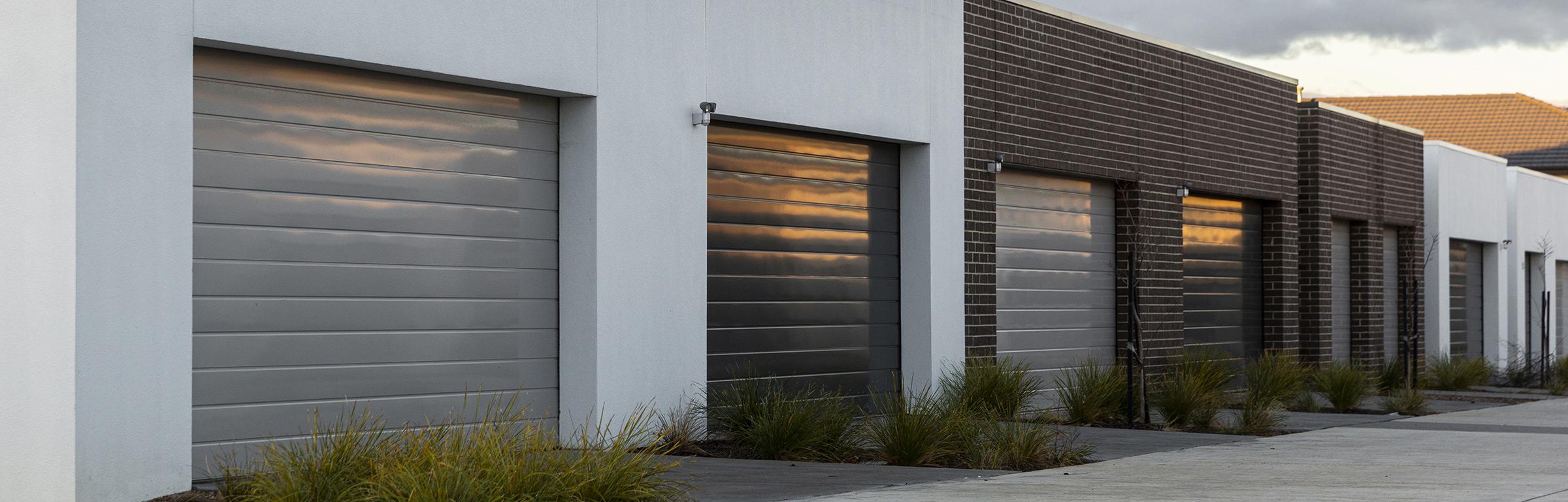 Roller shutter doors in shades of grey