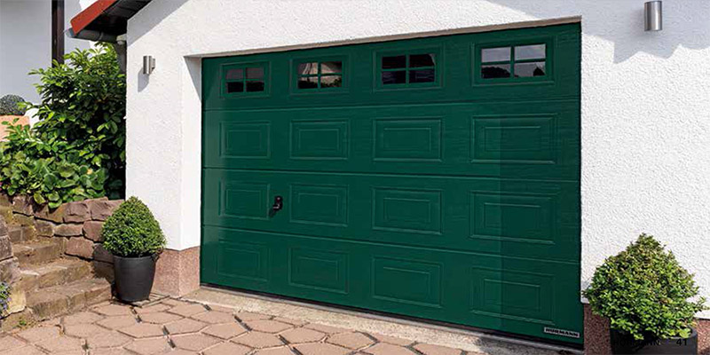 Panelled Sectional Garage Door with glass windows