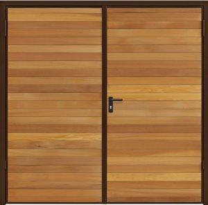 Timber side hinged garage door